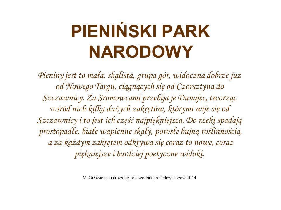 PIENIŃSKI PARK NARODOWY Pieniny jest to mała, skalista, grupa gór, widoczna dobrze już od Nowego Targu, ciągnących się od Czorsztyna do Szczawnicy.