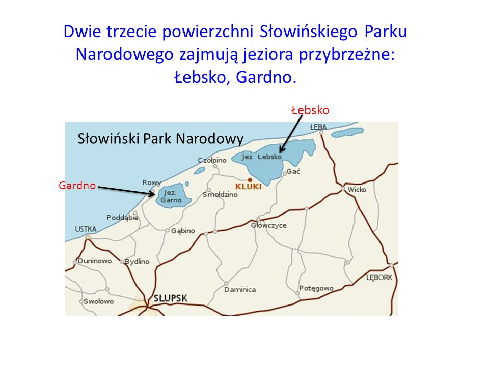 Dwie trzecie powierzchni Słowińskiego Parku Narodowego zajmują jeziora przybrzeżne: Łebsko, Gardno.