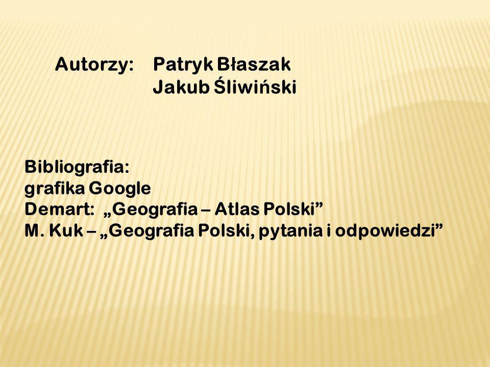 Autorzy: Patryk B ł aszak Jakub Ś liwi ń ski Bibliografia: grafika Google Demart: Geografia – Atlas Polski M. Kuk – Geografia Polski, pytania i odpowi