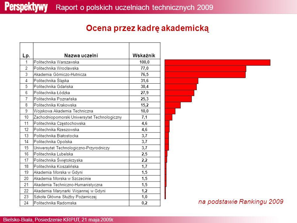 3 Raport o polskich uczelniach technicznych 2009 Bielsko-Biała, Posiedzenie KRPUT, 21 maja 2009r.