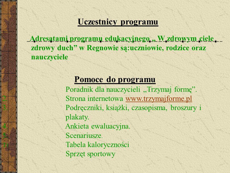 Uczestnicy programu Adresatami programu edukacyjnego W zdrowym ciele zdrowy duch w Regnowie są:uczniowie, rodzice oraz nauczyciele Pomoce do programu
