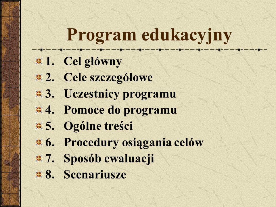 Program edukacyjny 1. Cel główny 2. Cele szczegółowe 3. Uczestnicy programu 4. Pomoce do programu 5. Ogólne treści 6. Procedury osiągania celów 7. Spo
