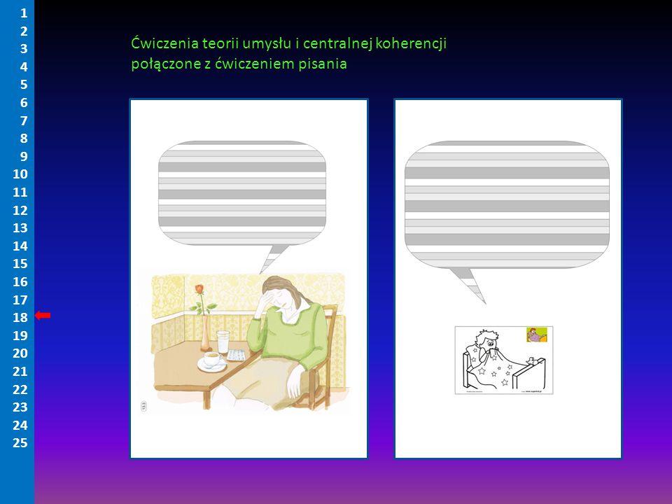 Ćwiczenia teorii umysłu i centralnej koherencji połączone z ćwiczeniem pisania 1 2 3 4 5 6 7 8 9 10 11 12 13 14 15 16 17 18 19 20 21 22 23 24 25