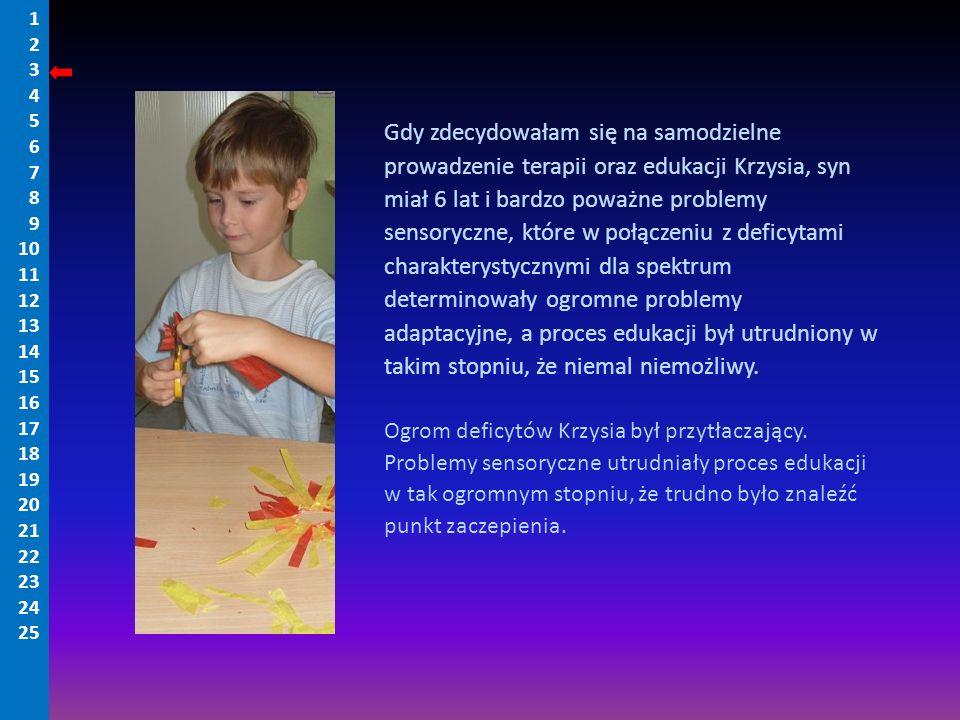 Gdy zdecydowałam się na samodzielne prowadzenie terapii oraz edukacji Krzysia, syn miał 6 lat i bardzo poważne problemy sensoryczne, które w połączeni