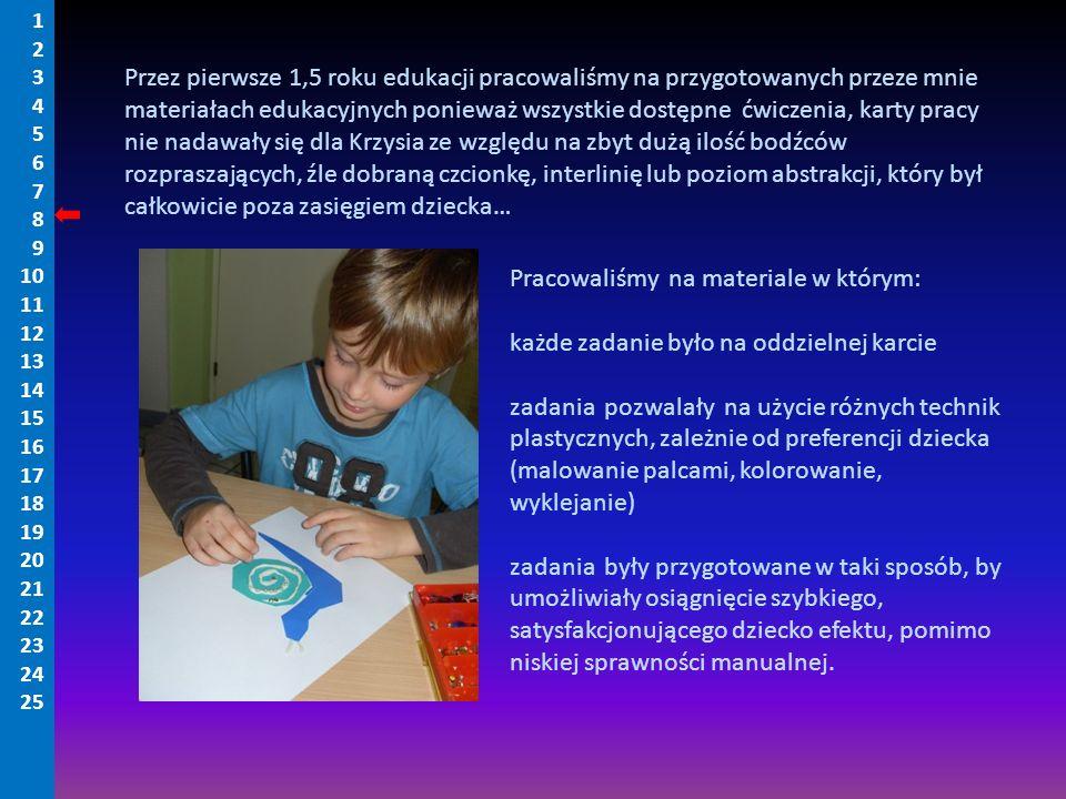 Przez pierwsze 1,5 roku edukacji pracowaliśmy na przygotowanych przeze mnie materiałach edukacyjnych ponieważ wszystkie dostępne ćwiczenia, karty prac
