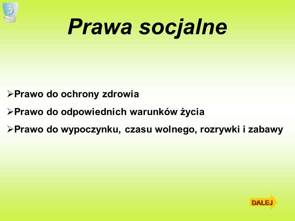 Prawa socjalne Prawo do ochrony zdrowia Prawo do odpowiednich warunków życia Prawo do wypoczynku, czasu wolnego, rozrywki i zabawy DALEJ
