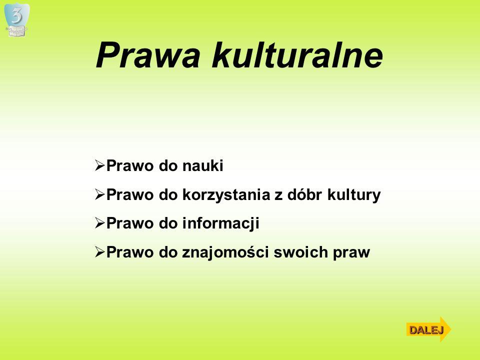 Prawa kulturalne Prawo do nauki Prawo do korzystania z dóbr kultury Prawo do informacji Prawo do znajomości swoich praw DALEJ