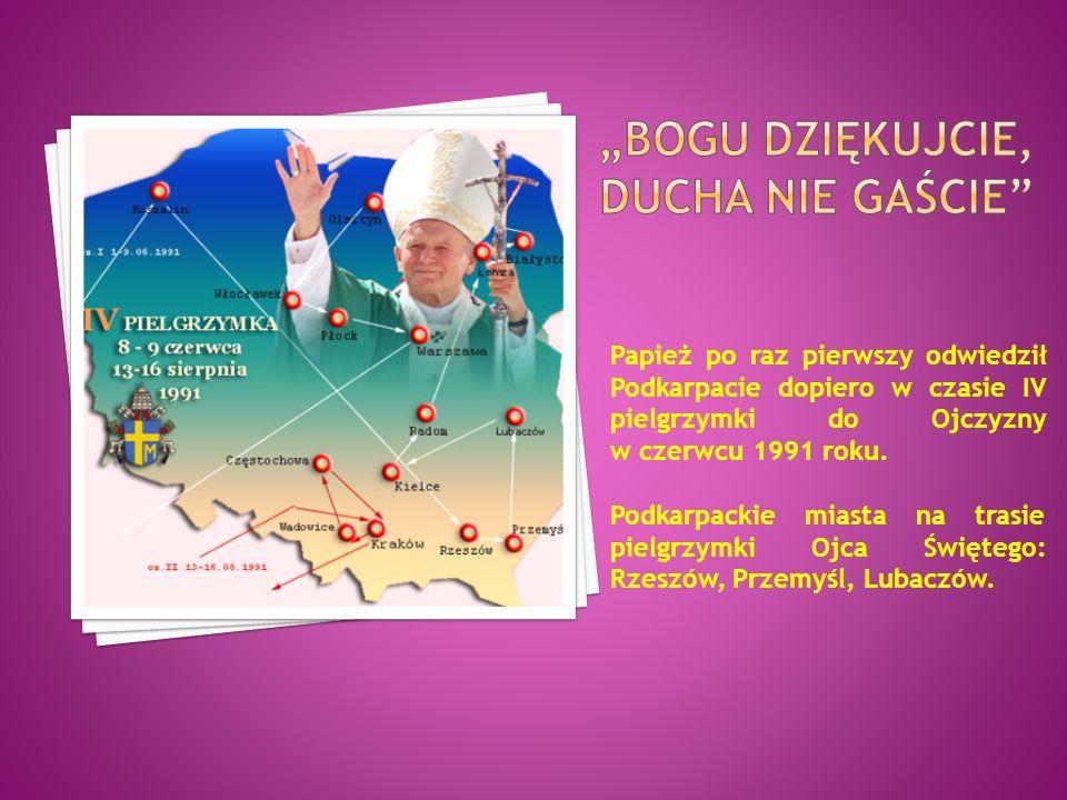 Papież po raz pierwszy odwiedził Podkarpacie dopiero w czasie IV pielgrzymki do Ojczyzny w czerwcu 1991 roku. Podkarpackie miasta na trasie pielgrzymk