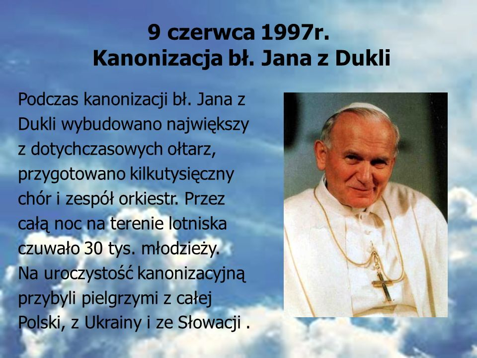 31 maja – 10 czerwca 1997r. Jezus Chrystus wczoraj, dziś i na wieki. Pielgrzymka z 1997r. To już VI wizyta Ojca Świętego Jana Pawła II w ojczyźnie. To