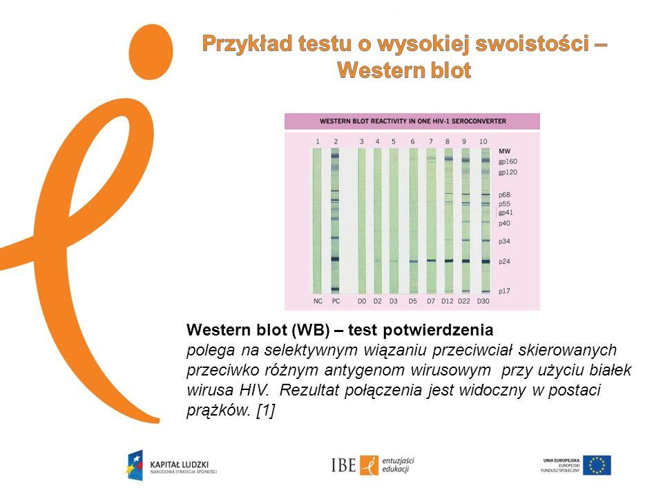Western blot (WB) – test potwierdzenia polega na selektywnym wiązaniu przeciwciał skierowanych przeciwko różnym antygenom wirusowym przy użyciu białek
