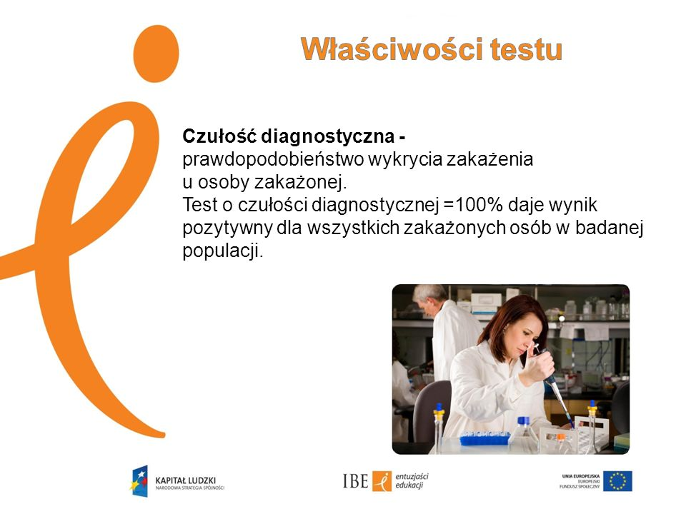 Czułość diagnostyczna - prawdopodobieństwo wykrycia zakażenia u osoby zakażonej. Test o czułości diagnostycznej =100% daje wynik pozytywny dla wszystk