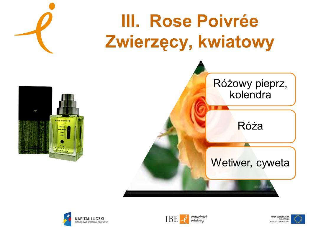 III.Rose Poivrée Zwierzęcy, kwiatowy Różowy pieprz, kolendra RóżaWetiwer, cyweta