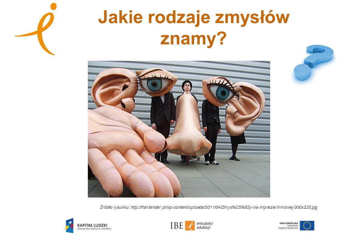 Jakie rodzaje zmysłów znamy? Źródło rysunku: http://flairtender.pl/wp-content/uploads/2011/04/Zmys%C5%82y-na-imprezie-firmowej-300x225.jpg