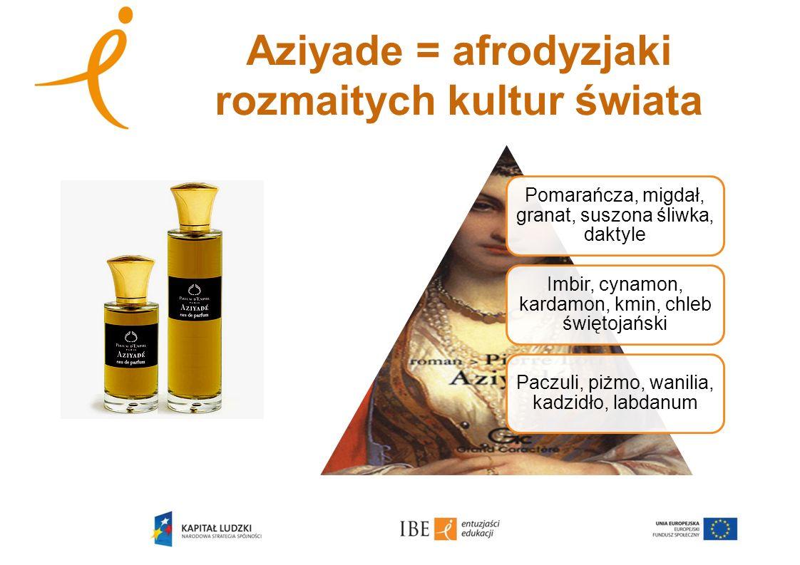 Aziyade = afrodyzjaki rozmaitych kultur świata Pomarańcza, migdał, granat, suszona śliwka, daktyle Imbir, cynamon, kardamon, kmin, chleb świętojański