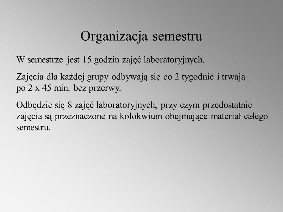 Organizacja semestru W semestrze jest 15 godzin zajęć laboratoryjnych.