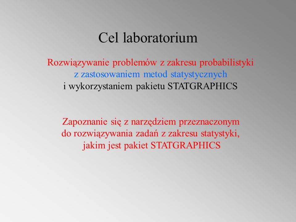Cel laboratorium Rozwiązywanie problemów z zakresu probabilistyki z zastosowaniem metod statystycznych i wykorzystaniem pakietu STATGRAPHICS Zapoznanie się z narzędziem przeznaczonym do rozwiązywania zadań z zakresu statystyki, jakim jest pakiet STATGRAPHICS