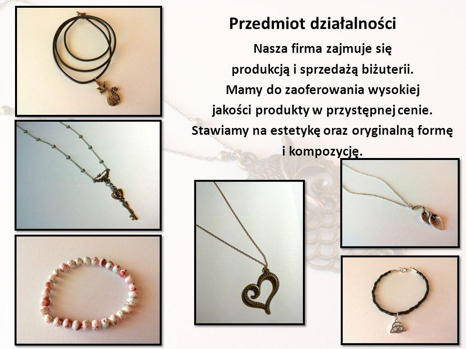 Nasza firma zajmuje się produkcją i sprzedażą biżuterii. Mamy do zaoferowania wysokiej jakości produkty w przystępnej cenie. Stawiamy na estetykę oraz