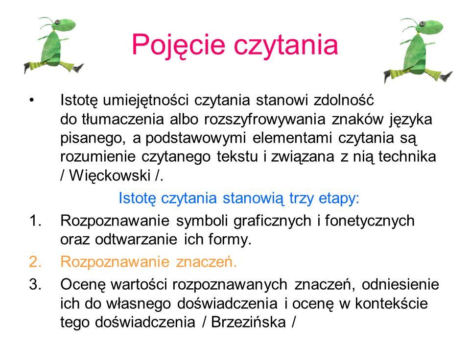 Pojęcie czytania Istotę umiejętności czytania stanowi zdolność do tłumaczenia albo rozszyfrowywania znaków języka pisanego, a podstawowymi elementami czytania są rozumienie czytanego tekstu i związana z nią technika / Więckowski /.