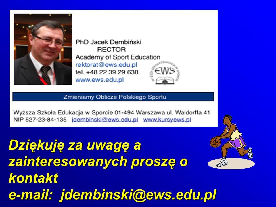 Dziękuję za uwagę a zainteresowanych proszę o kontakt e-mail: jdembinski@ews.edu.pl