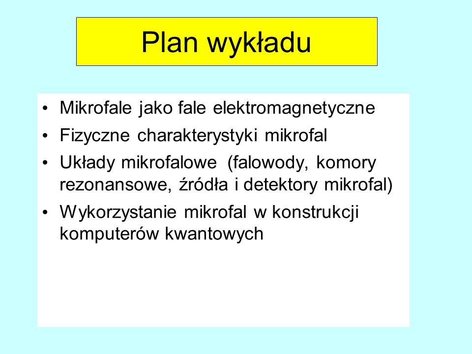 Plan wykładu Mikrofale jako fale elektromagnetyczne Fizyczne charakterystyki mikrofal Układy mikrofalowe(falowody, komory rezonansowe, źródła i detekt