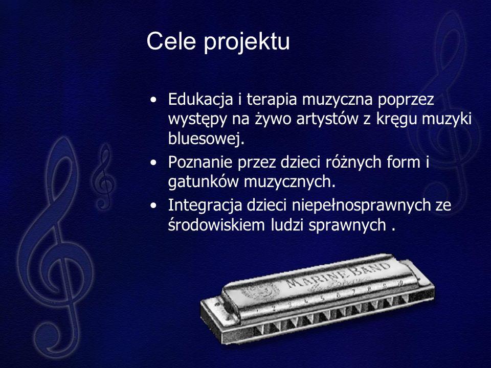 Cele projektu Edukacja i terapia muzyczna poprzez występy na żywo artystów z kręgu muzyki bluesowej.