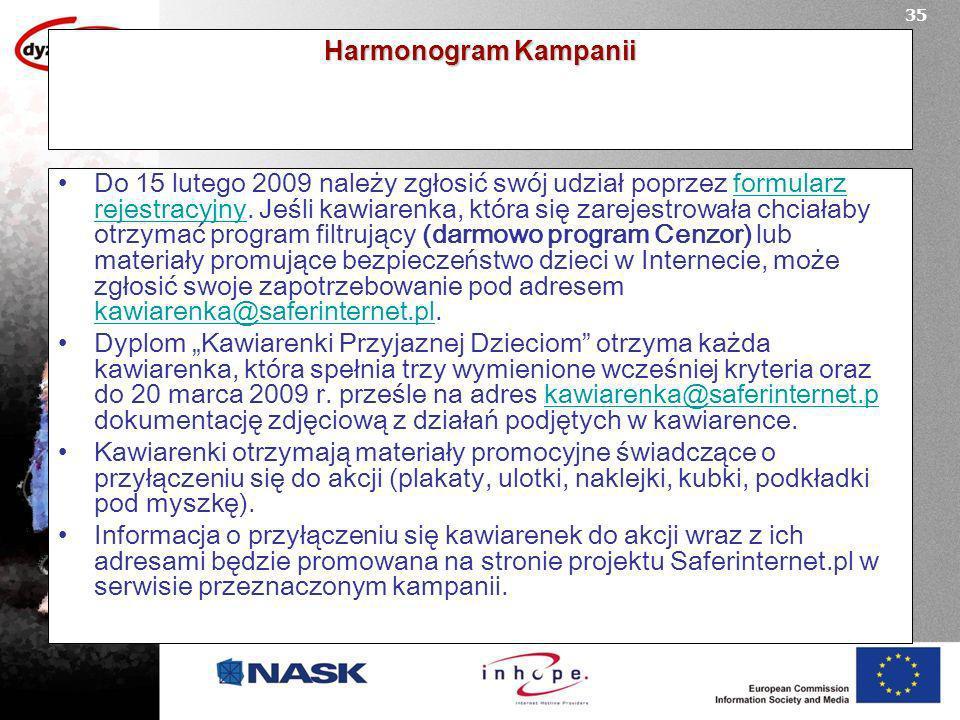 Harmonogram Kampanii Do 15 lutego 2009 należy zgłosić swój udział poprzez formularz rejestracyjny.