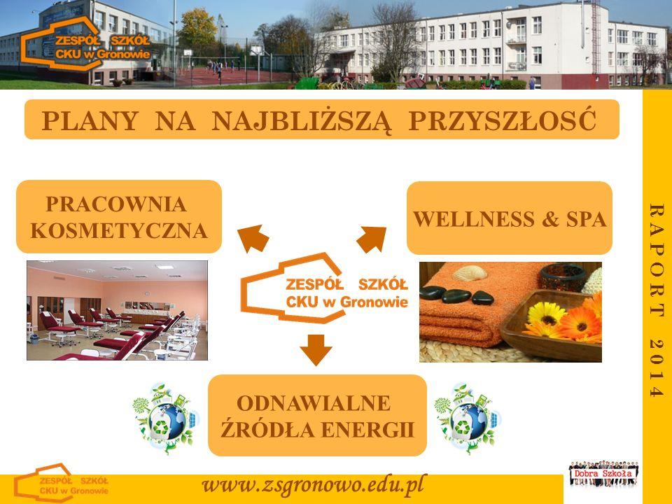 R A P O R T 2 0 1 4 www.zsgronowo.edu.pl PLANY NA NAJBLIŻSZĄ PRZYSZŁOSĆ PRACOWNIA KOSMETYCZNA WELLNESS & SPA ODNAWIALNE ŹRÓDŁA ENERGII
