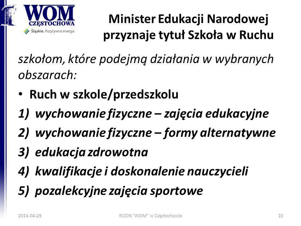 Minister Edukacji Narodowej przyznaje tytuł Szkoła w Ruchu szkołom, które podejmą działania w wybranych obszarach: Ruch w szkole/przedszkolu 1)wychowa