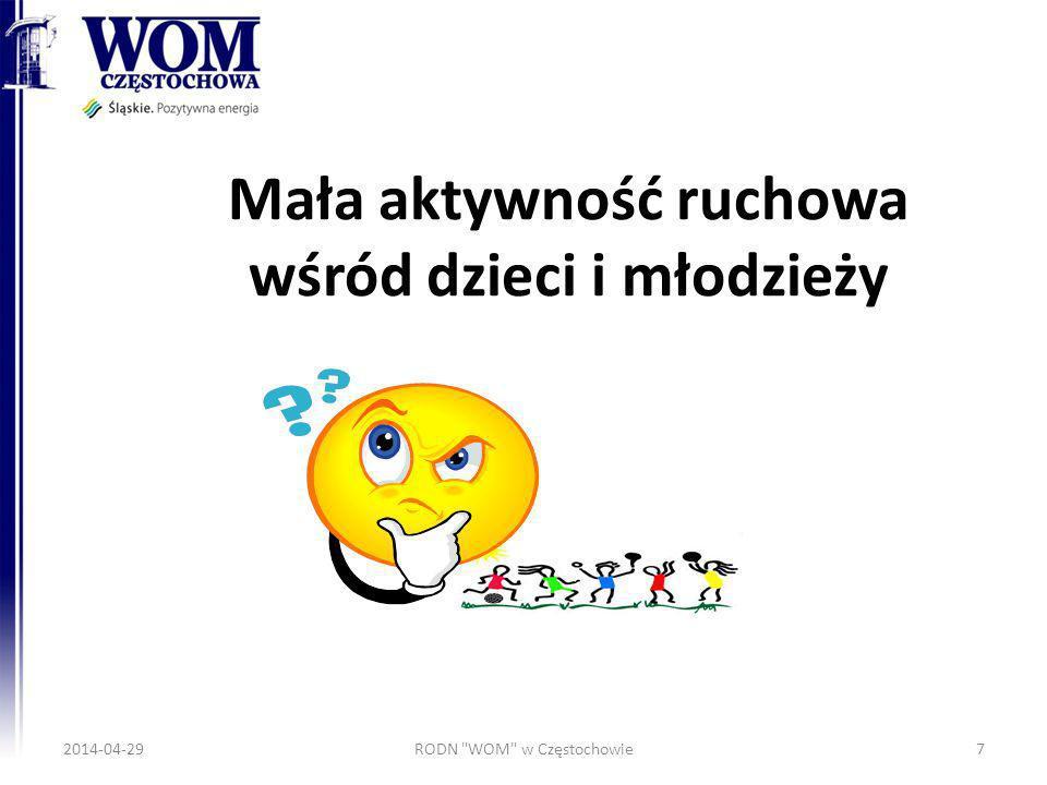 Mała aktywność ruchowa wśród dzieci i młodzieży 2014-04-29RODN