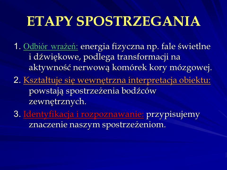 ETAPY SPOSTRZEGANIA 1. Odbiór wrażeń : energia fizyczna np. fale świetlne i dźwiękowe, podlega transformacji na aktywność nerwową komórek kory mózgowe