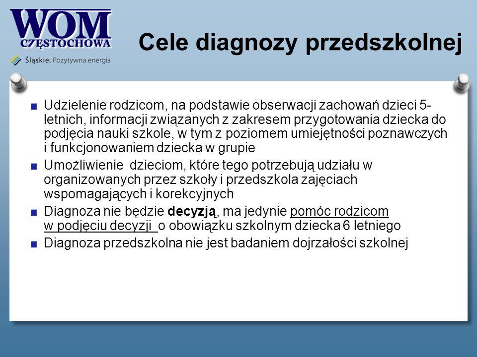 Cele diagnozy przedszkolnej Udzielenie rodzicom, na podstawie obserwacji zachowań dzieci 5- letnich, informacji związanych z zakresem przygotowania dz