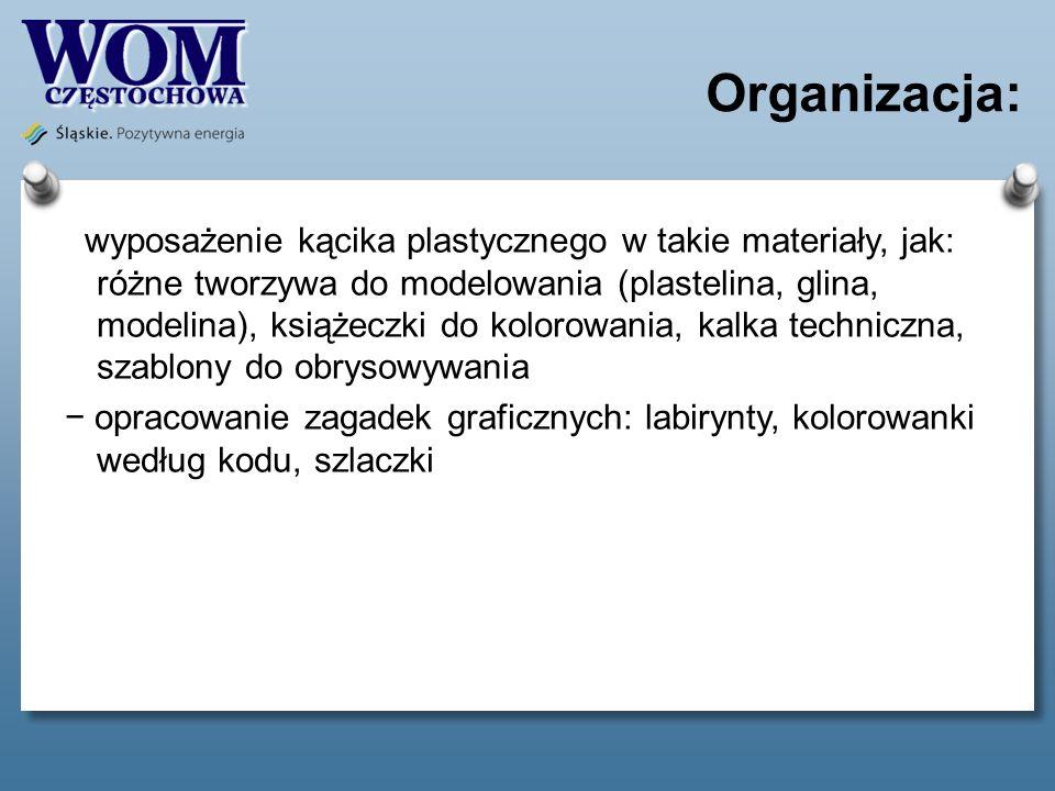 Organizacja: wyposażenie kącika plastycznego w takie materiały, jak: różne tworzywa do modelowania (plastelina, glina, modelina), książeczki do koloro