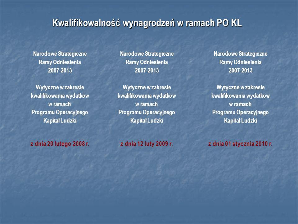 Kwalifikowalność wynagrodzeń w ramach PO KL Narodowe Strategiczne Ramy Odniesienia 2007-2013 Wytyczne w zakresie kwalifikowania wydatków w ramach Programu Operacyjnego Kapitał Ludzki z dnia 12 luty 2009 r.