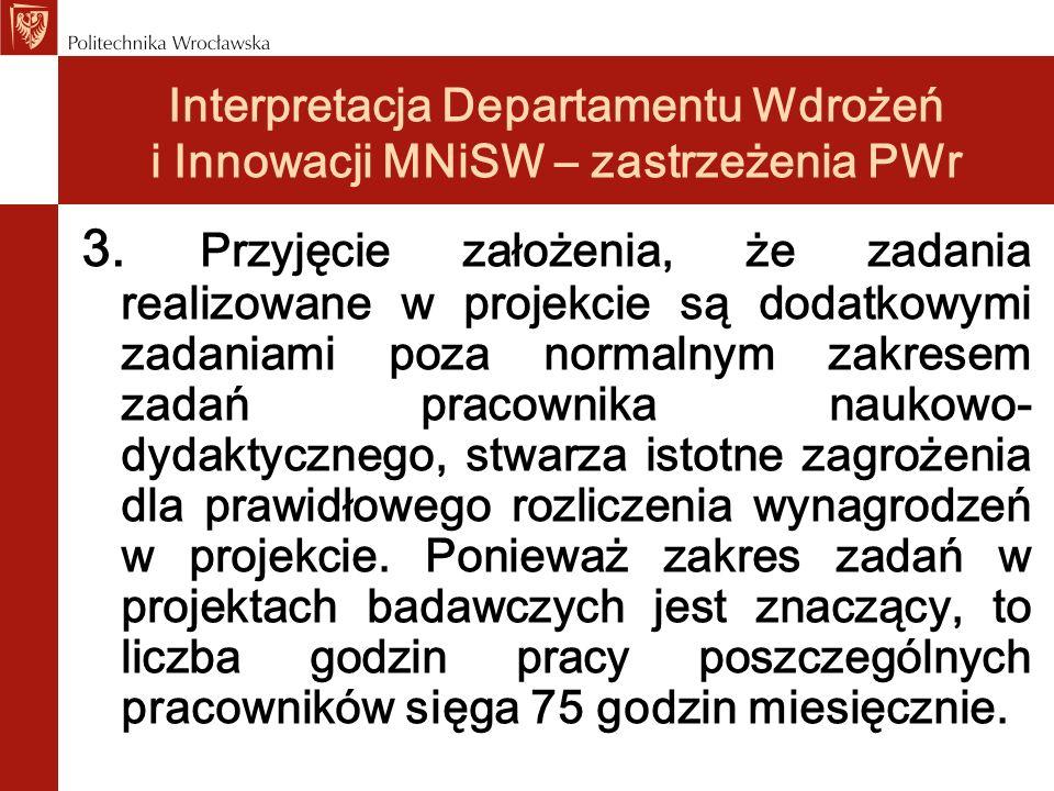 Interpretacja Departamentu Wdrożeń i Innowacji MNiSW – zastrzeżenia PWr 3. Przyjęcie założenia, że zadania realizowane w projekcie są dodatkowymi zada