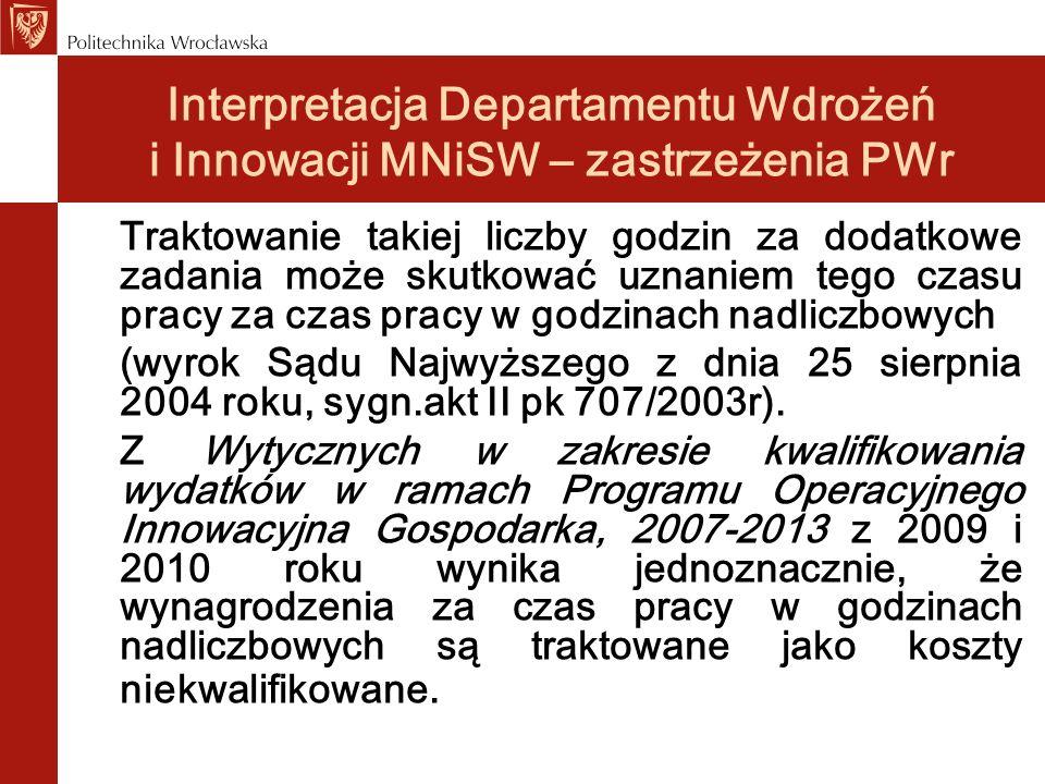Interpretacja Departamentu Wdrożeń i Innowacji MNiSW – zastrzeżenia PWr Traktowanie takiej liczby godzin za dodatkowe zadania może skutkować uznaniem