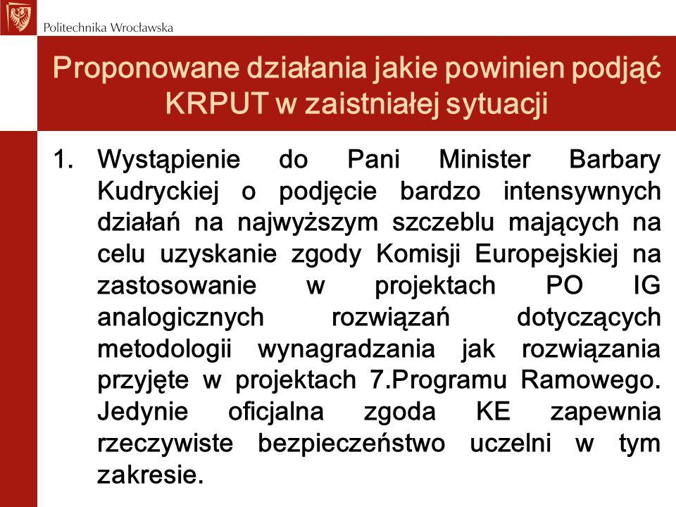 Proponowane działania jakie powinien podjąć KRPUT w zaistniałej sytuacji 1.Wystąpienie do Pani Minister Barbary Kudryckiej o podjęcie bardzo intensywn