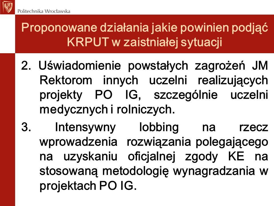 Proponowane działania jakie powinien podjąć KRPUT w zaistniałej sytuacji 2. Uświadomienie powstałych zagrożeń JM Rektorom innych uczelni realizujących