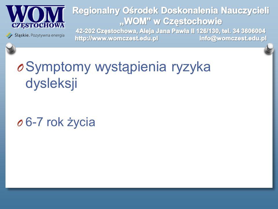 O Symptomy wystąpienia ryzyka dysleksji O 6-7 rok życia