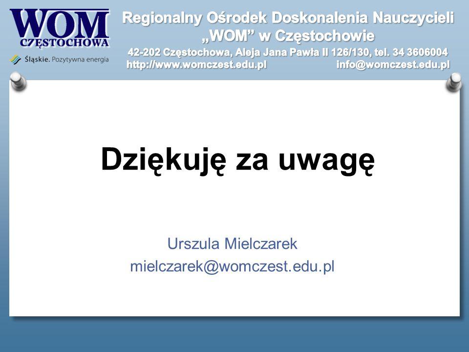 Dziękuję za uwagę Urszula Mielczarek mielczarek@womczest.edu.pl
