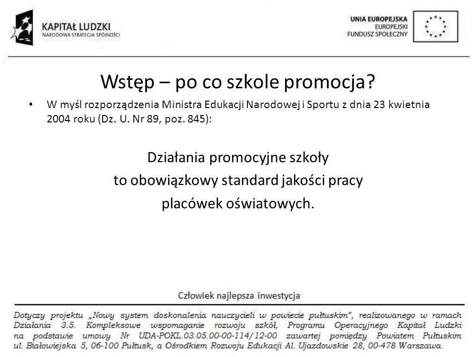 Wstęp – po co szkole promocja? W myśl rozporządzenia Ministra Edukacji Narodowej i Sportu z dnia 23 kwietnia 2004 roku (Dz. U. Nr 89, poz. 845): Dział