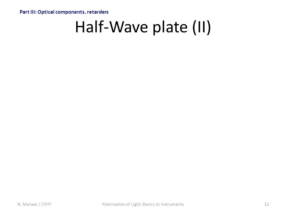 N. Manset / CFHTPolarization of Light: Basics to Instruments12 Half-Wave plate (II) Part III: Optical components, retarders