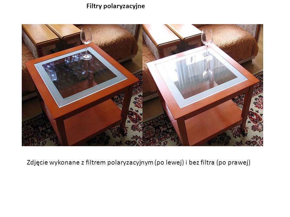 Filtry polaryzacyjne Zdjęcie wykonane z filtrem polaryzacyjnym (po lewej) i bez filtra (po prawej)