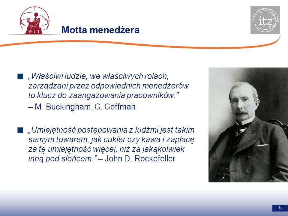 Motta menedżera 5 Właściwi ludzie, we właściwych rolach, zarządzani przez odpowiednich menedżerów to klucz do zaangażowania pracowników. – M. Buckingh