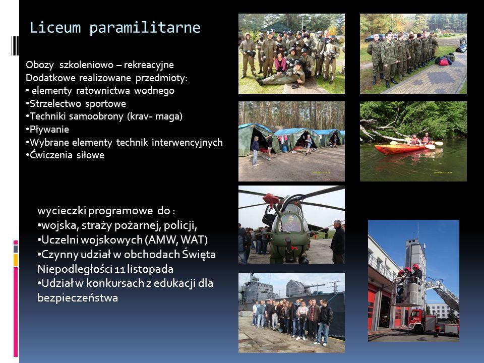 Liceum paramilitarne Obozy szkoleniowo – rekreacyjne Dodatkowe realizowane przedmioty: elementy ratownictwa wodnego Strzelectwo sportowe Techniki samo