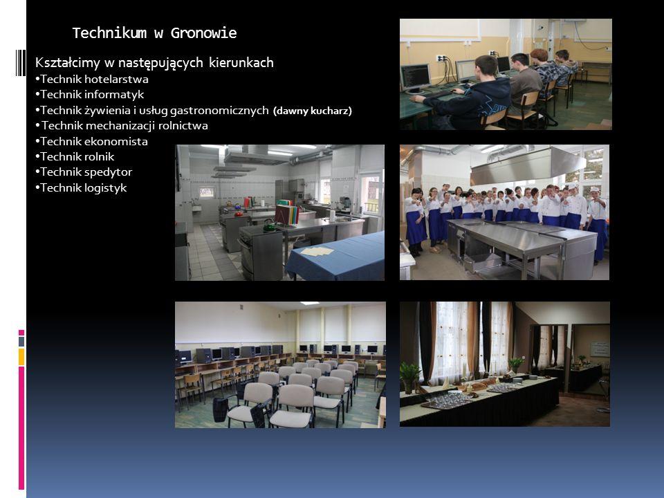 Technikum w Gronowie Kształcimy w następujących kierunkach Technik hotelarstwa Technik informatyk Technik żywienia i usług gastronomicznych (dawny kuc