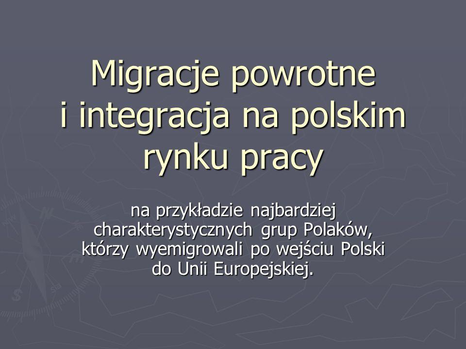 Migracje powrotne i integracja na polskim rynku pracy na przykładzie najbardziej charakterystycznych grup Polaków, którzy wyemigrowali po wejściu Polski do Unii Europejskiej.