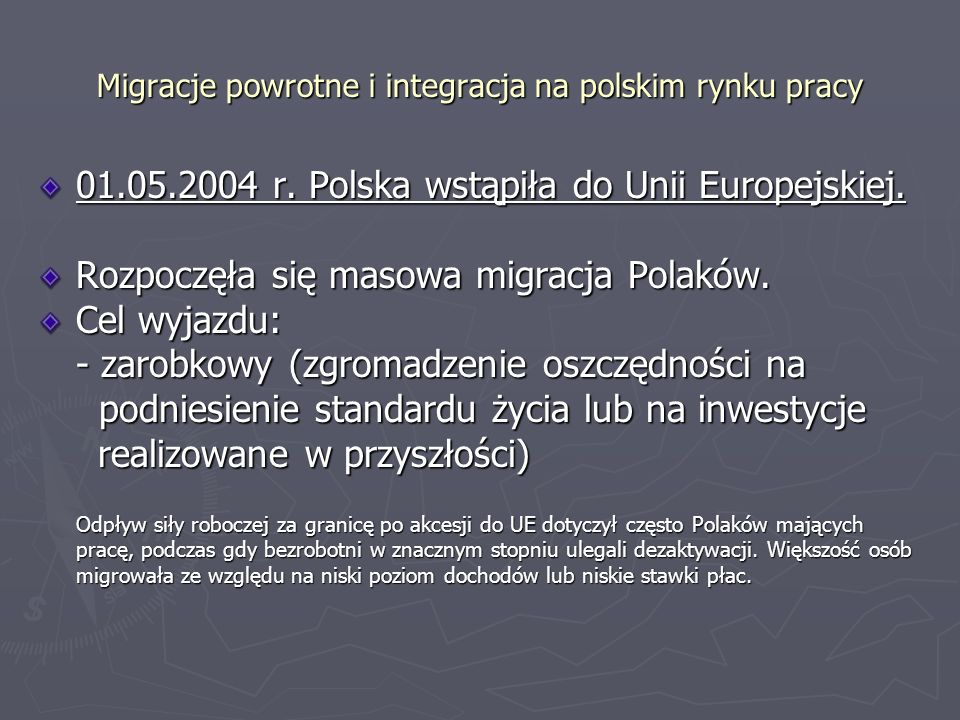 Migracje powrotne i integracja na polskim rynku pracy Osoby te będą potrzebowały wsparcia służb zatrudnienia (np.