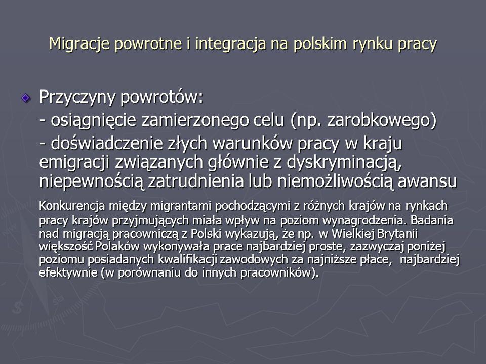 Migracje powrotne i integracja na polskim rynku pracy Przyczyny powrotów: - osiągnięcie zamierzonego celu (np.