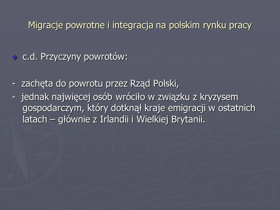 Migracje powrotne i integracja na polskim rynku pracy Migranci powracający (1): - wyjechali z Polski mając przed sobą konkretny cel do osiągnięcia – zarobkowy, na czas określony z zamiarem powrotu do Polski (najczęściej ojcowie rodzin, którzy zostawili w Polsce żony z dziećmi).