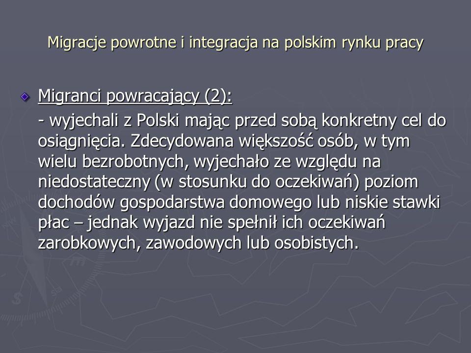 Migracje powrotne i integracja na polskim rynku pracy Migranci powracający (2): - wyjechali z Polski mając przed sobą konkretny cel do osiągnięcia.